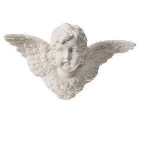 Angel head bas-relief in recontituted carrara marble, 13 cm s1