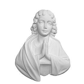 Bas relief St Jean en prière 17 cm marbre s1