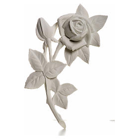 Funeral products: Rose, 21 cm bas-relief decoration in reconstituted marble