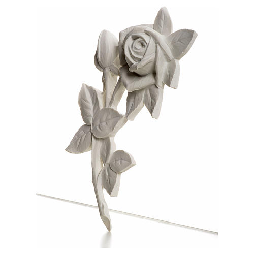 Rose, 21 cm bas-relief decoration in reconstituted marble 2