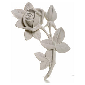 Funeral products: Rose bas-relief decoration in reconstituted marble, 11 cm