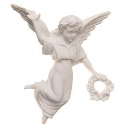 Bas relief ange avec couronne 11 cm marbre reconstitué s1