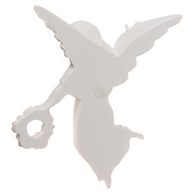 Bas relief ange avec couronne 11 cm marbre reconstitué s3