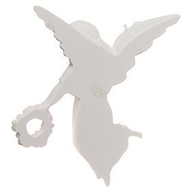Angelo con corona 11 cm rilievo marmo sintetico s3