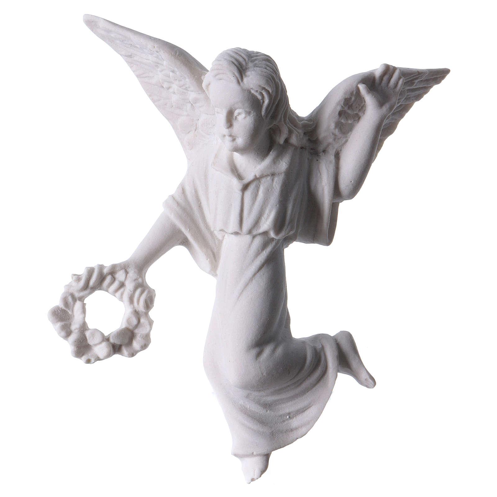 Angelo con corona 11 cm rilievo marmo 3