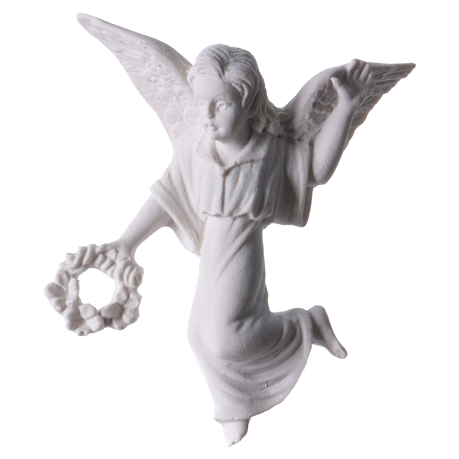 Angel with crown, 11 cm reconstituted marble bas-relief 3