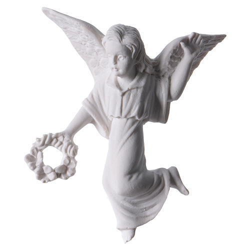 Angel with crown, 11 cm reconstituted marble bas-relief 1