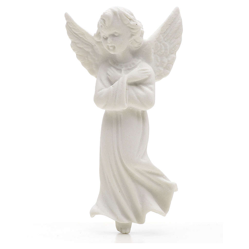 Angel with crossed arms. 11cm reconstituted marble bas-relief 3