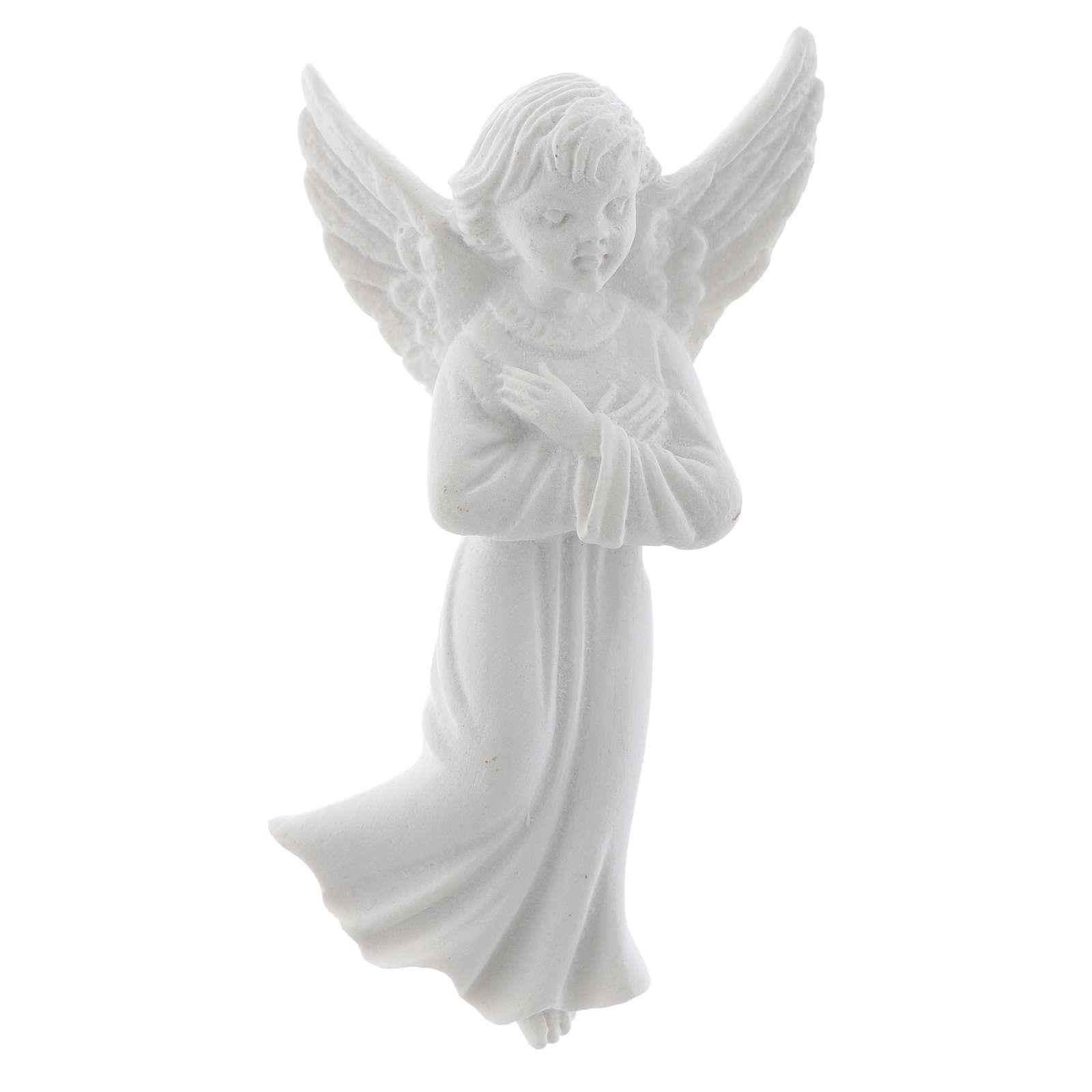 Angelo con mani incrociate 11 cm rilievo marmo 3