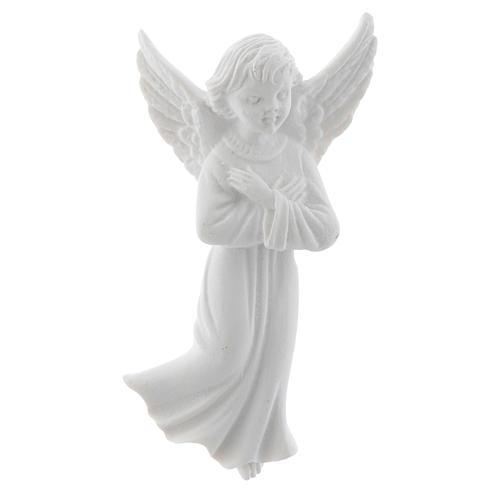Angelo con mani incrociate 11 cm rilievo marmo 1