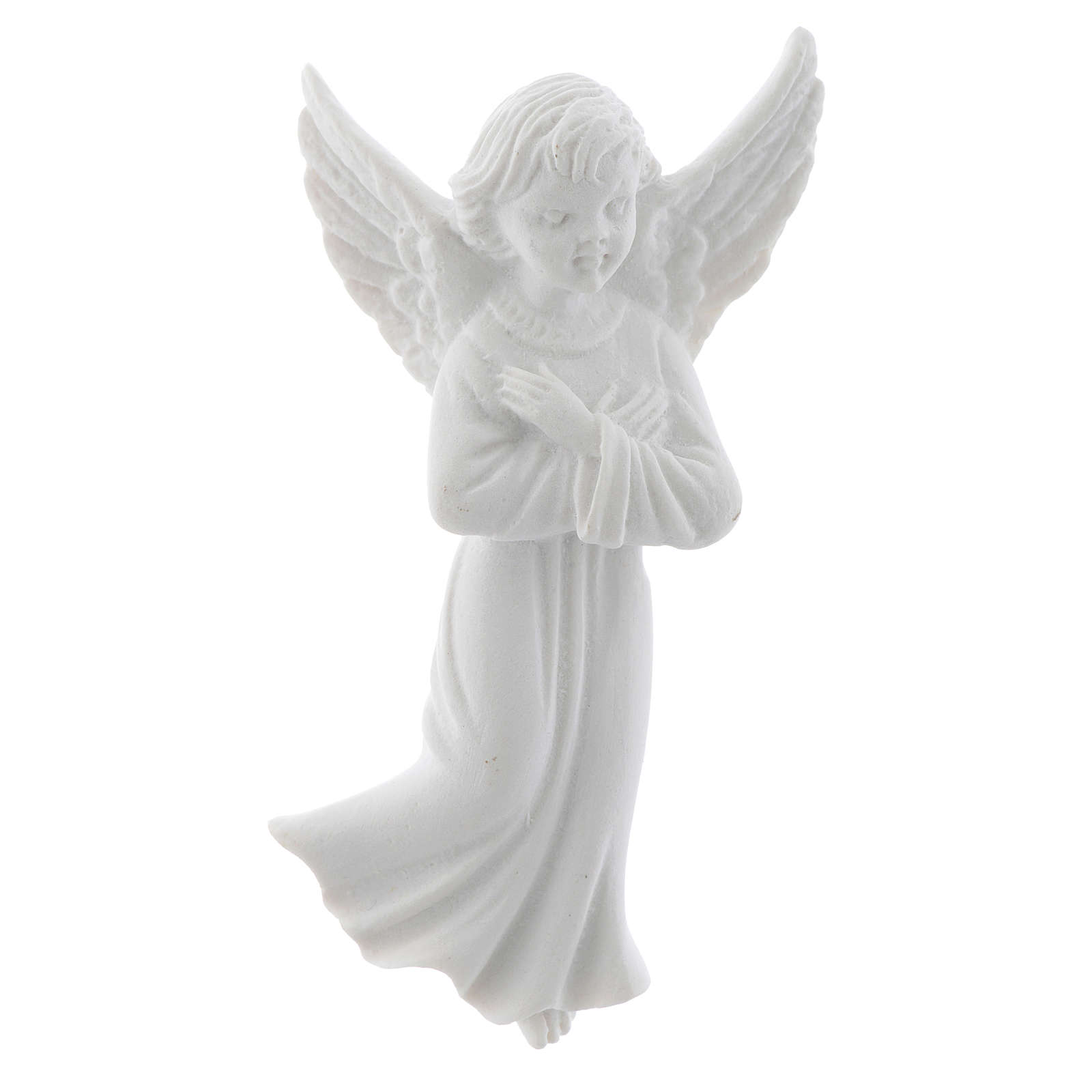 Angel with crossed arms, 11 cm reconstituted marble bas-relief 3
