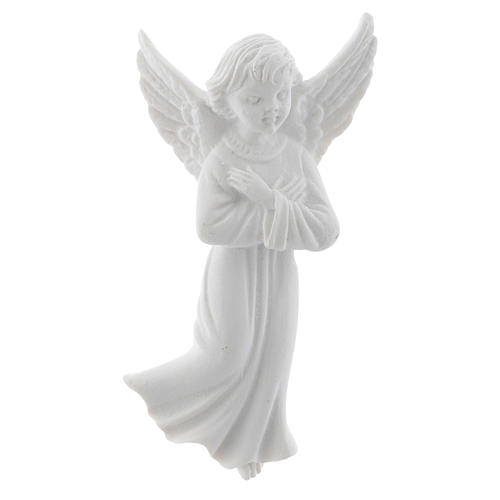 Angel with crossed arms, 11 cm reconstituted marble bas-relief 1