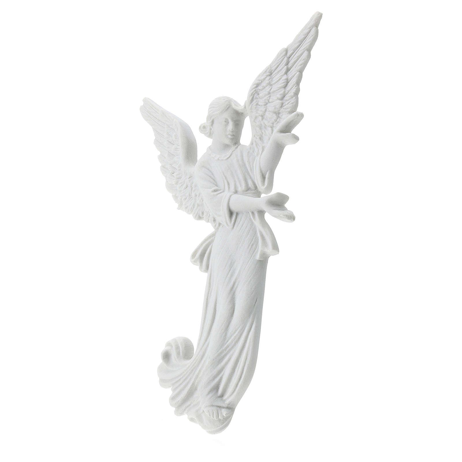 Bas relief angelot 26 cm marbre blanc 3