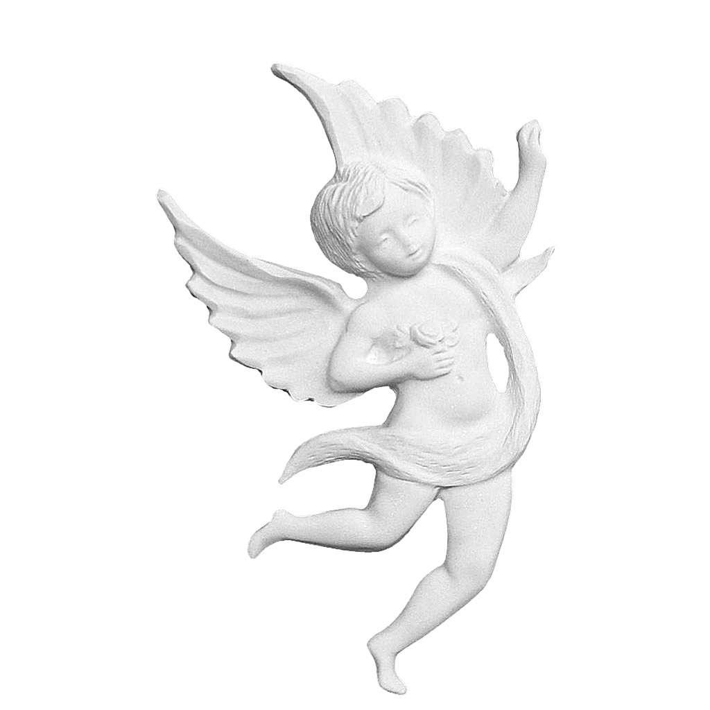 Applique ange avec rose 19 cm marbre blanc 3