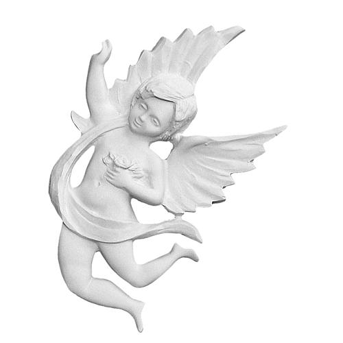 Angel with drape, 19 cm bas-relief in reconstituted marble 1