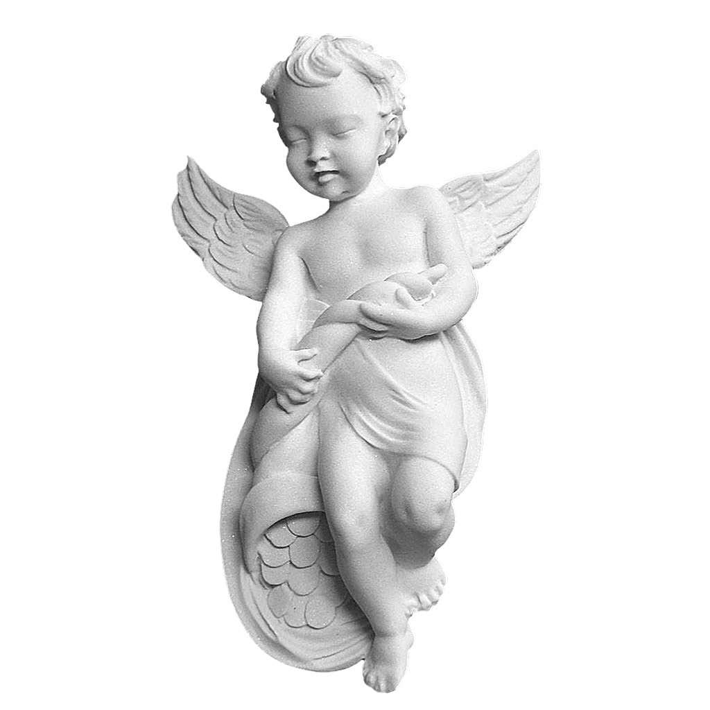 Angel bas-relief in reconstituted carrara marble, 14 cm 3