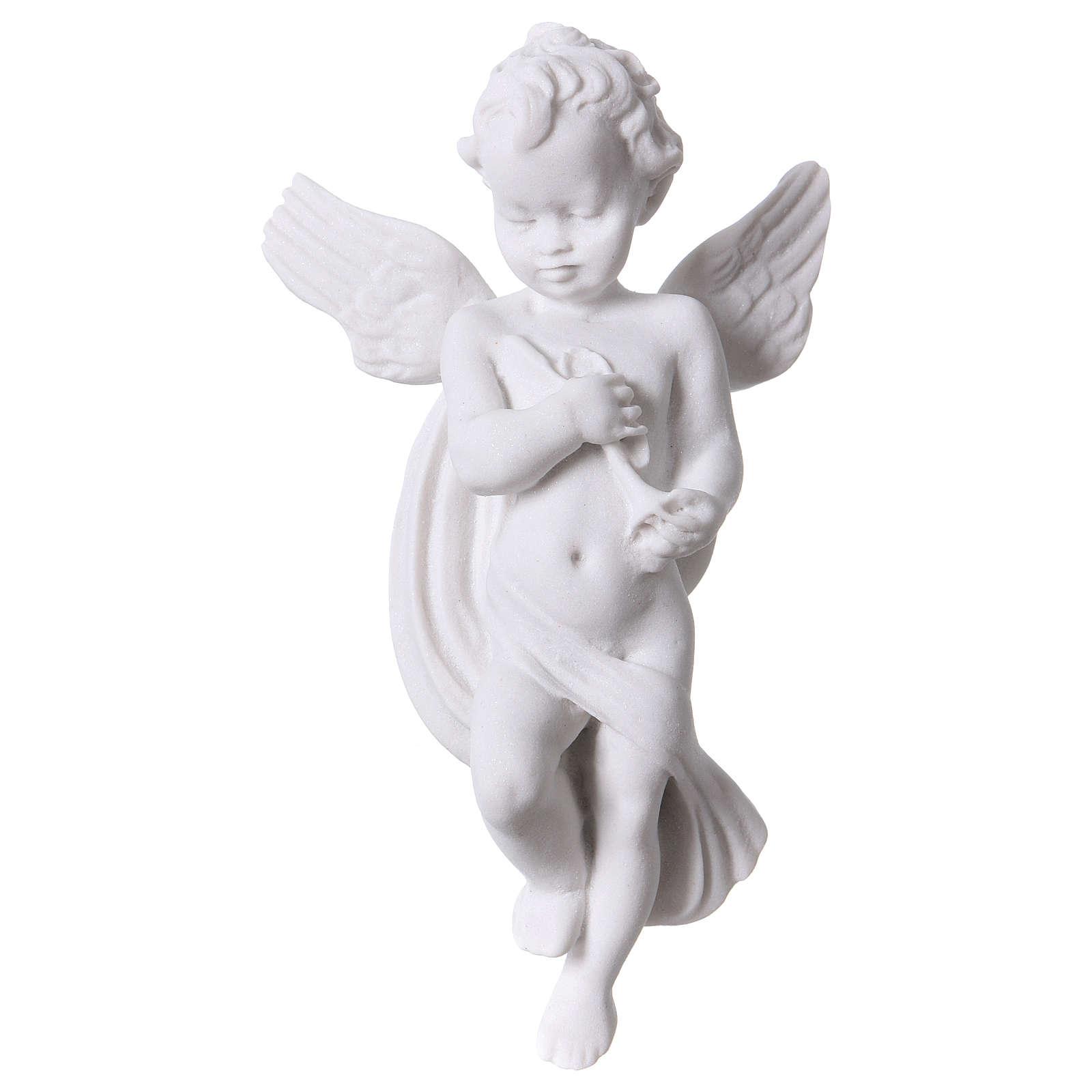 Applique angelot avec flûte 14 cm marbre 3