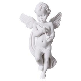 Applique angelot avec flûte 14 cm marbre s1