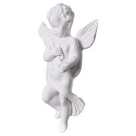 Applique angelot avec flûte 14 cm marbre s2