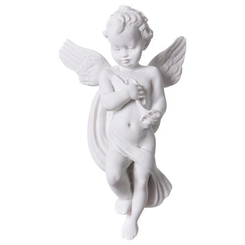 Applique angelot avec flûte 14 cm marbre 1
