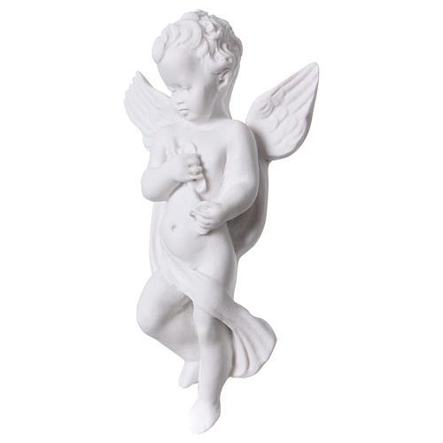 Applique angelot avec flûte 14 cm marbre 2
