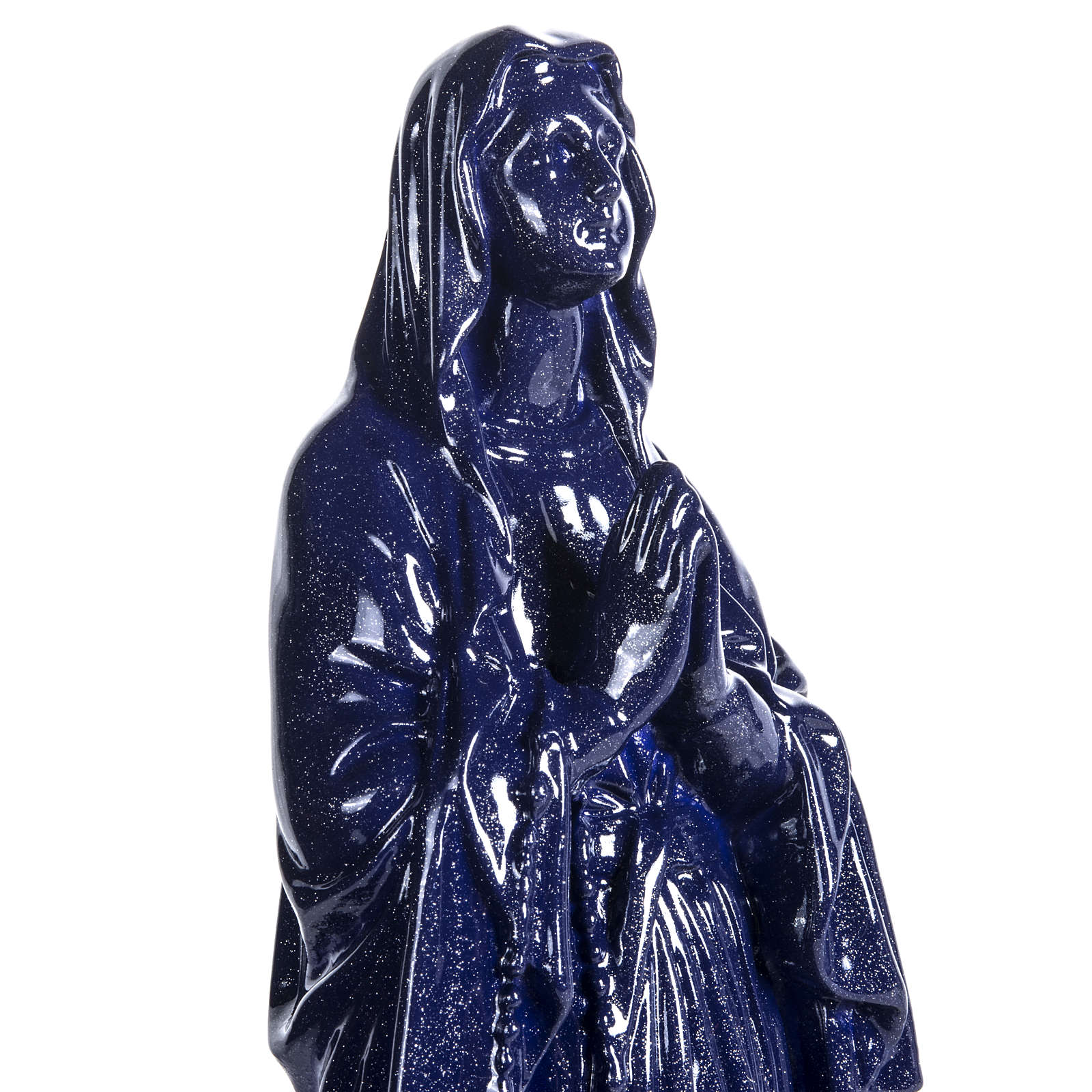 Our Lady of Lourdes statue in purple composite marble, 31 cm 4