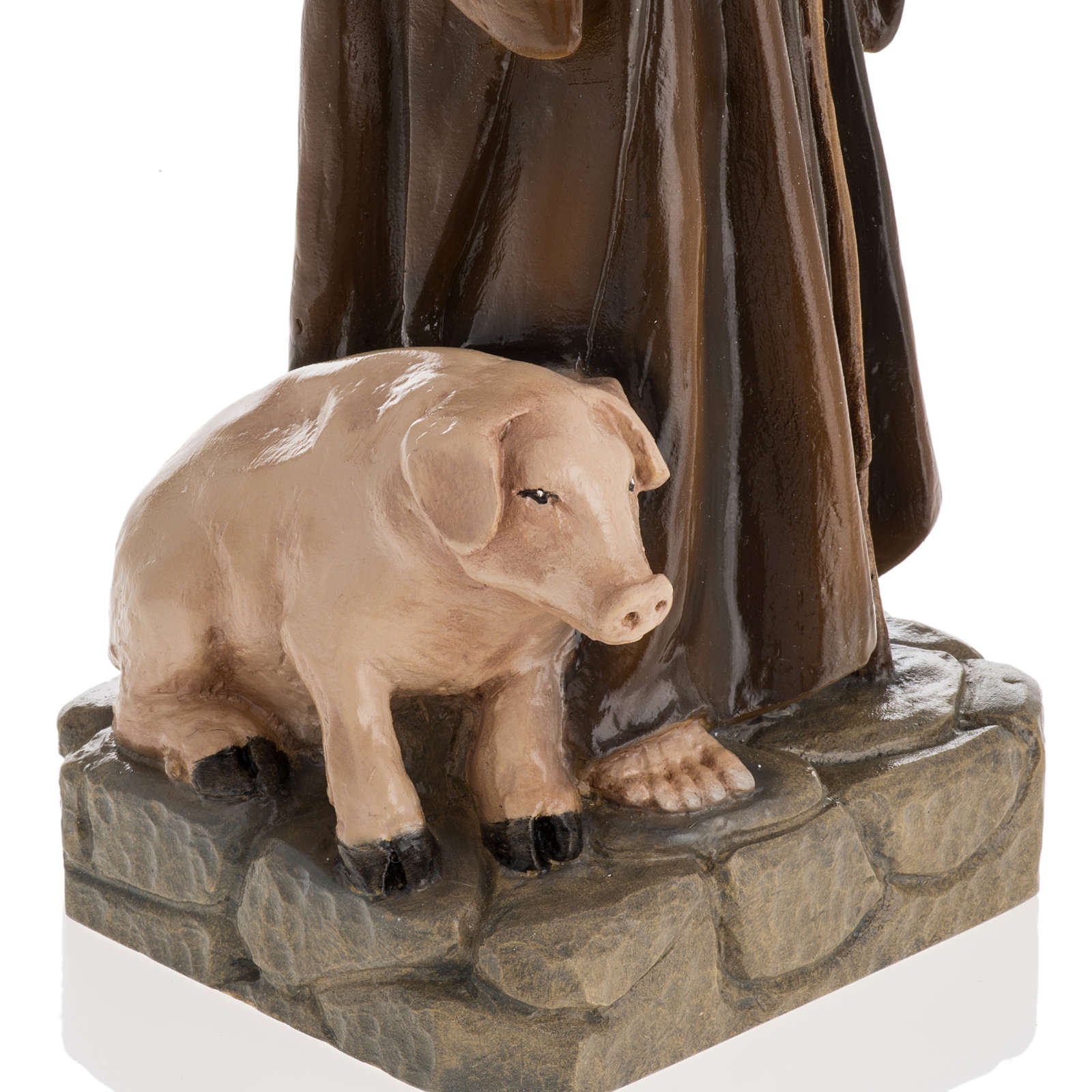 Statua Sant'Antonio Abate 35 cm marmo sintetico dipinto 4