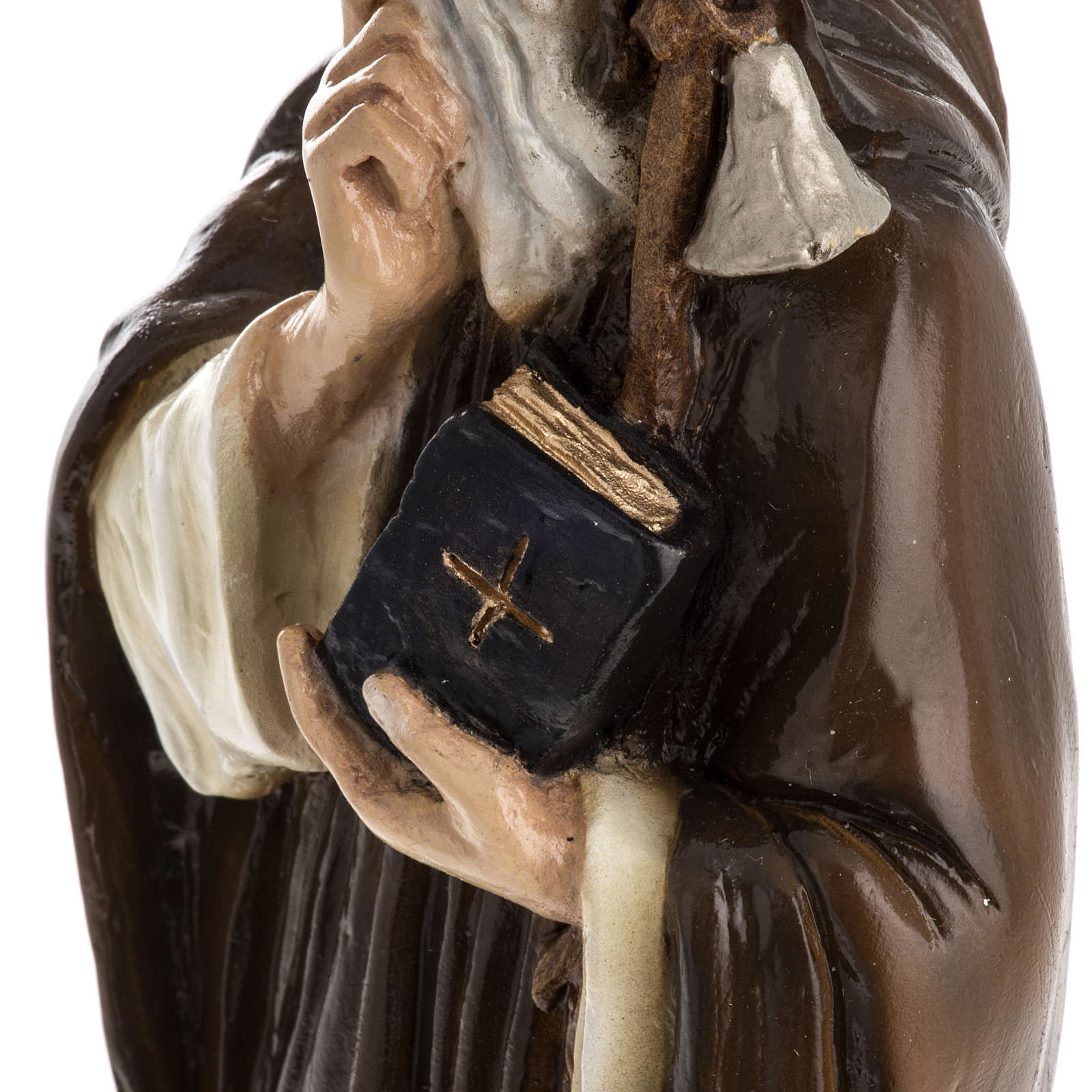 Saint Anthony the Abbot, 35 cm in painted Reconstituted marble 4