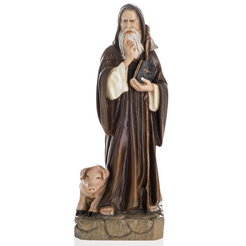 Saint Anthony the Abbot, 35 cm in painted Reconstituted marble 1