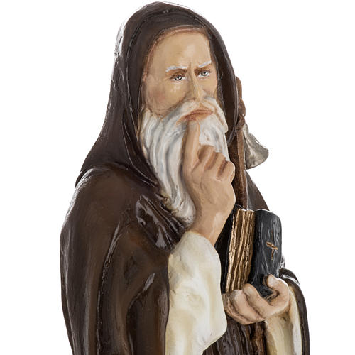 Saint Anthony the Abbot, 35 cm in painted Reconstituted marble 2