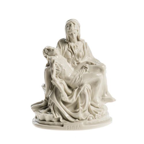 Michelangelo's Pietà in Carrara marble 5,12in polished 1