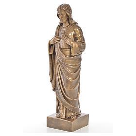 Sacred Heart of Jesus in Carrara marble 19,69in bronze finish s2