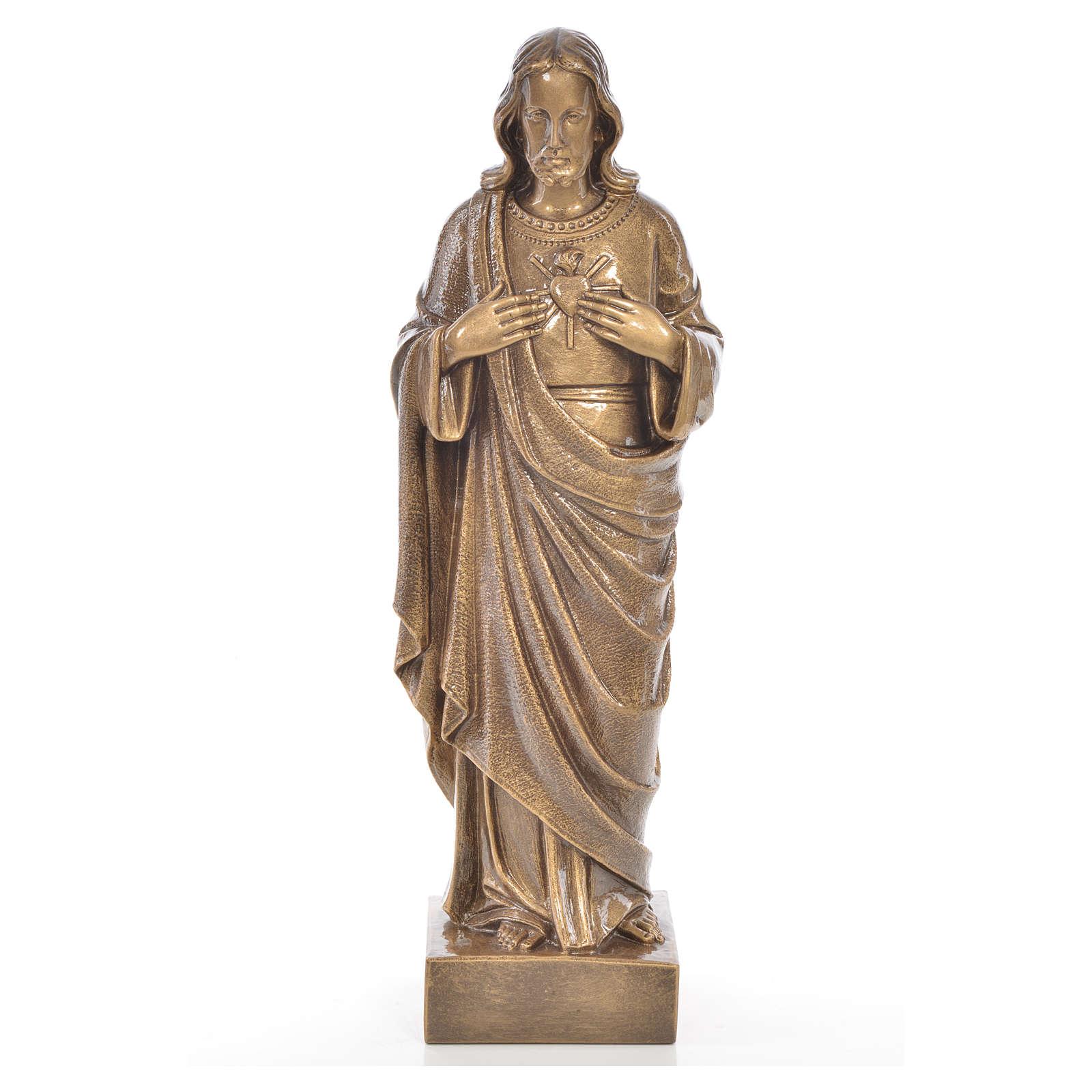Sacro Cuore Gesù 62 cm marmo finitura bronzata 4