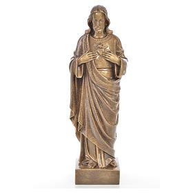Sacro Cuore Gesù 62 cm marmo finitura bronzata s1