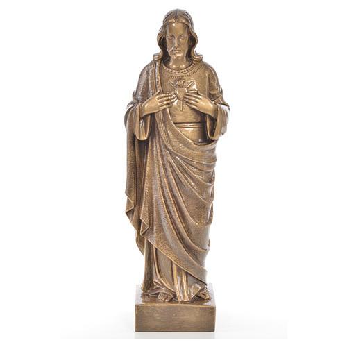 Sacro Cuore Gesù 62 cm marmo finitura bronzata 1
