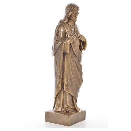 Sacred Heart of Jesus staute in Carrara marble, bronze finish, 24