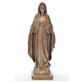 Miraculous Madonna in Carrara marble 19,69in bronze finish s1