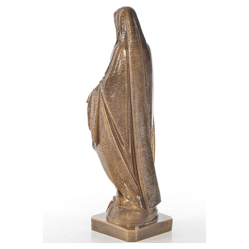 Miraculous Madonna in Carrara marble 19,69in bronze finish 3