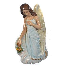 Engel mit Blumen 25cm Kunstmarmor s3