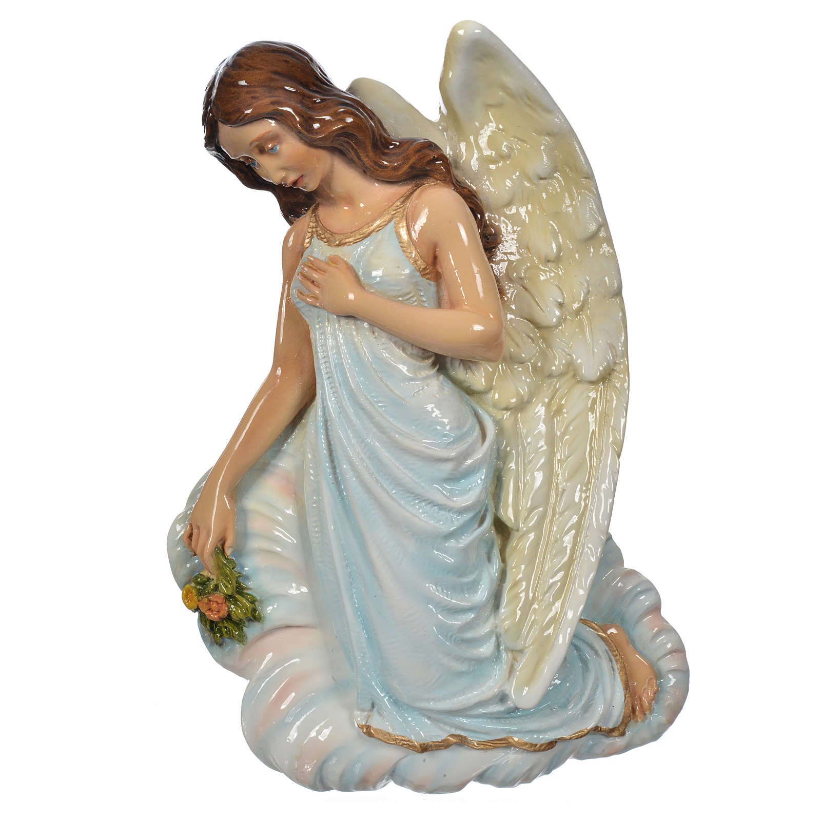 Angel with flowers, light blue in reconstituted marble 25cm 3