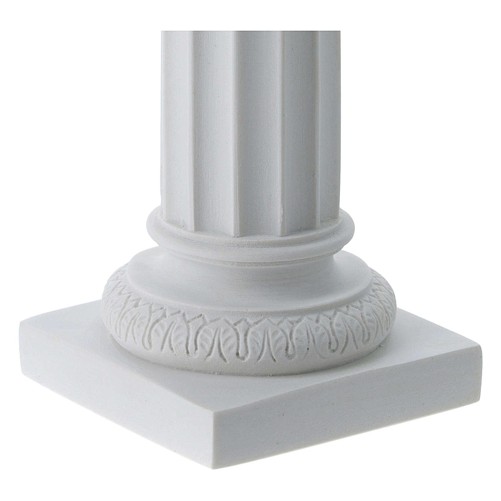 Column in full relief, reconstituted white Carrara marble 4