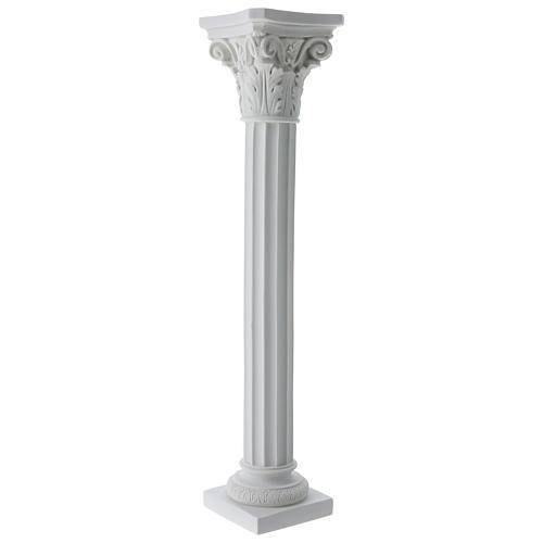 Column in full relief, reconstituted white Carrara marble 5