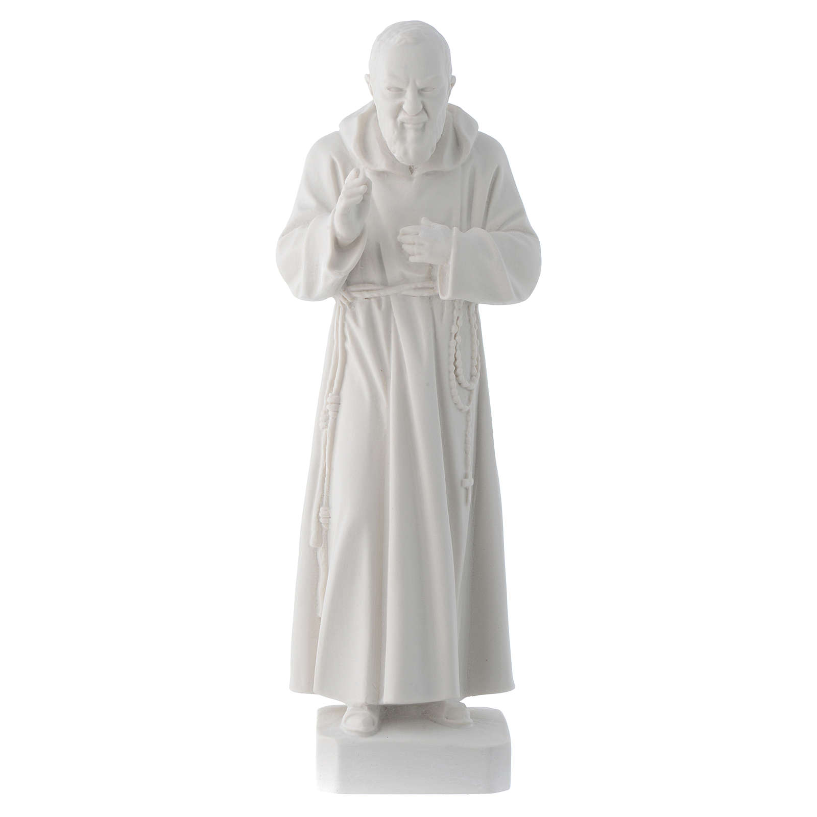 Padre Pio statue, 30 cm in white marble dust 4