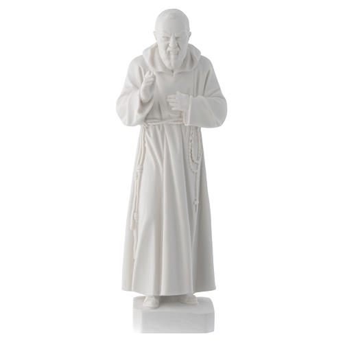 Padre Pio statue, 30 cm in white marble dust 1