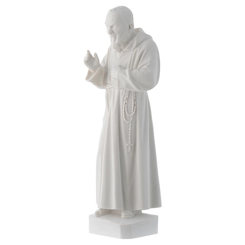 Padre Pio statue, 30 cm in white marble dust 3