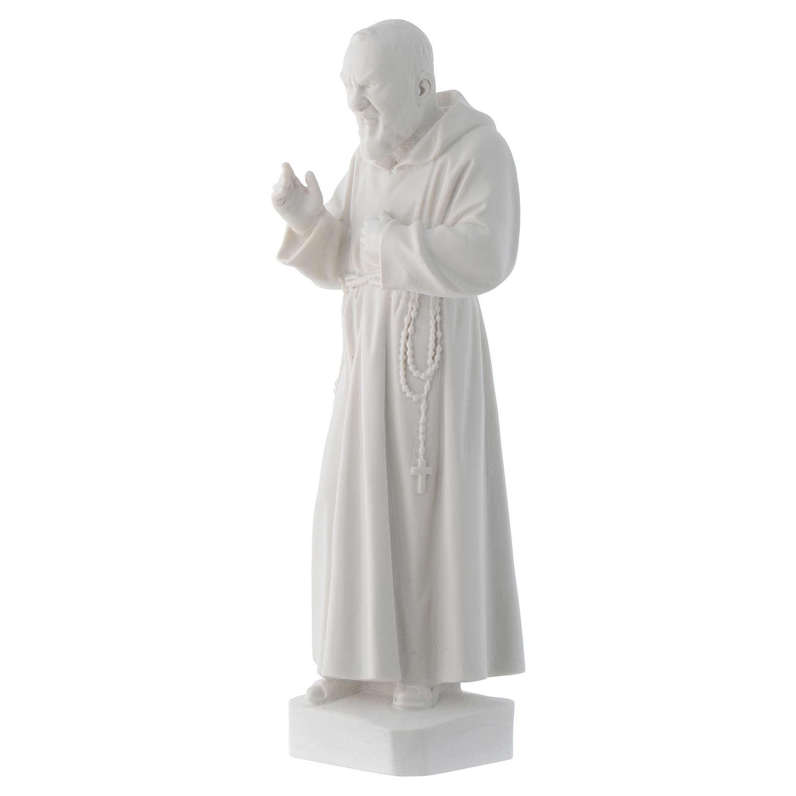 Statue père Pio marbre reconstitué blanc 30cm 4