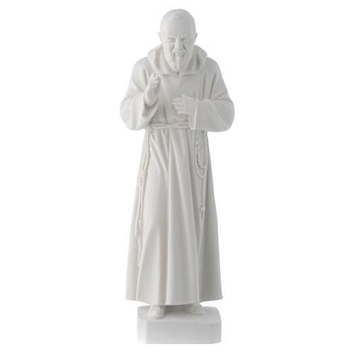 Padre Pio 30 cm polvere di marmo bianco 1