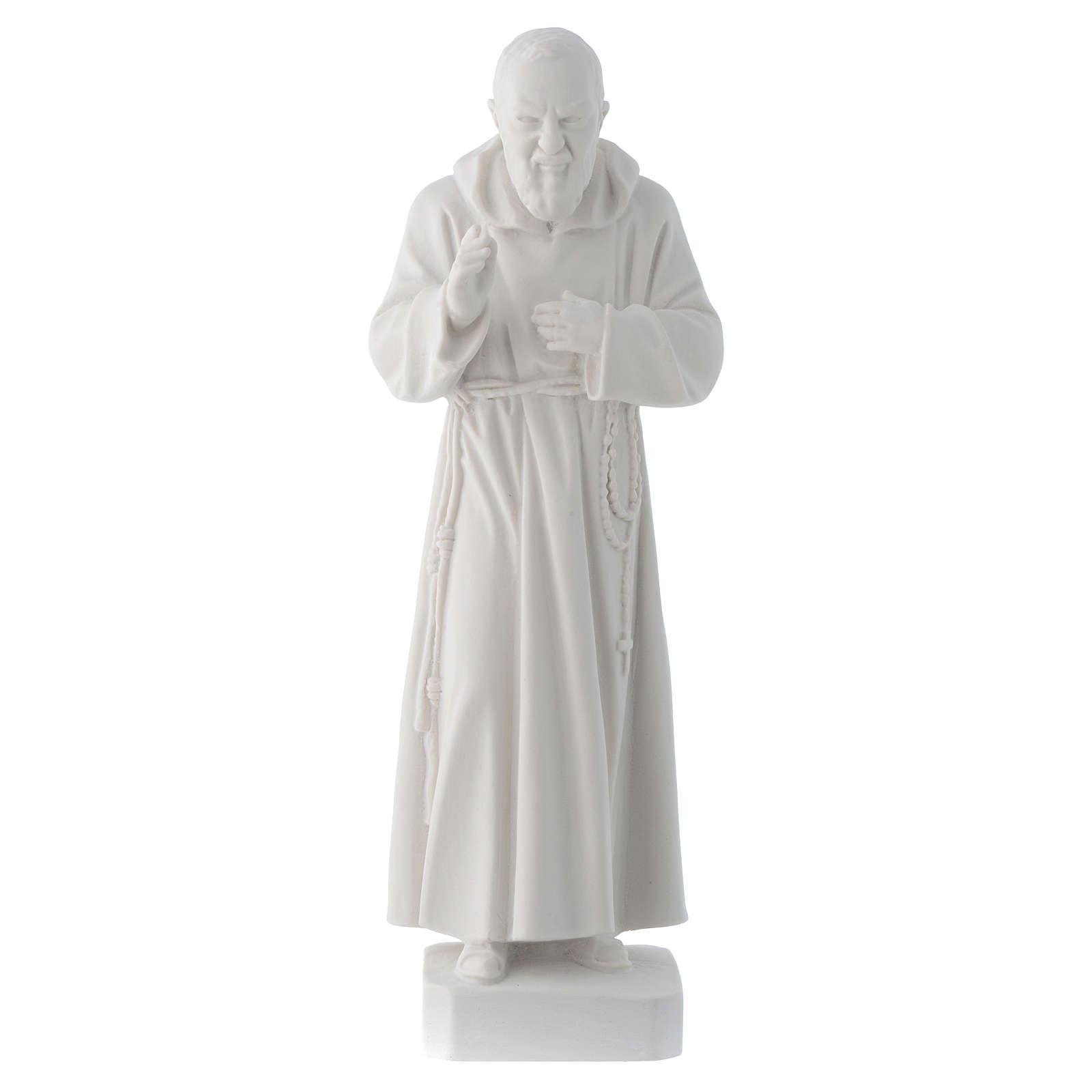 Padre Pio 30 cm pó de mármore branco 4