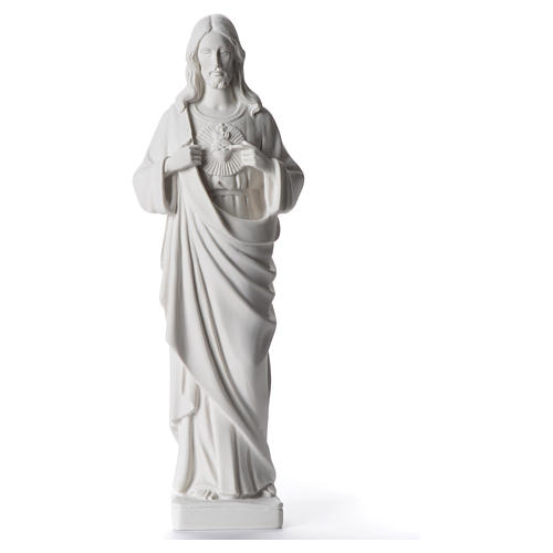 Sagrado Coração Jesus 38-53 cm pó de mármore branco 38 cm 1