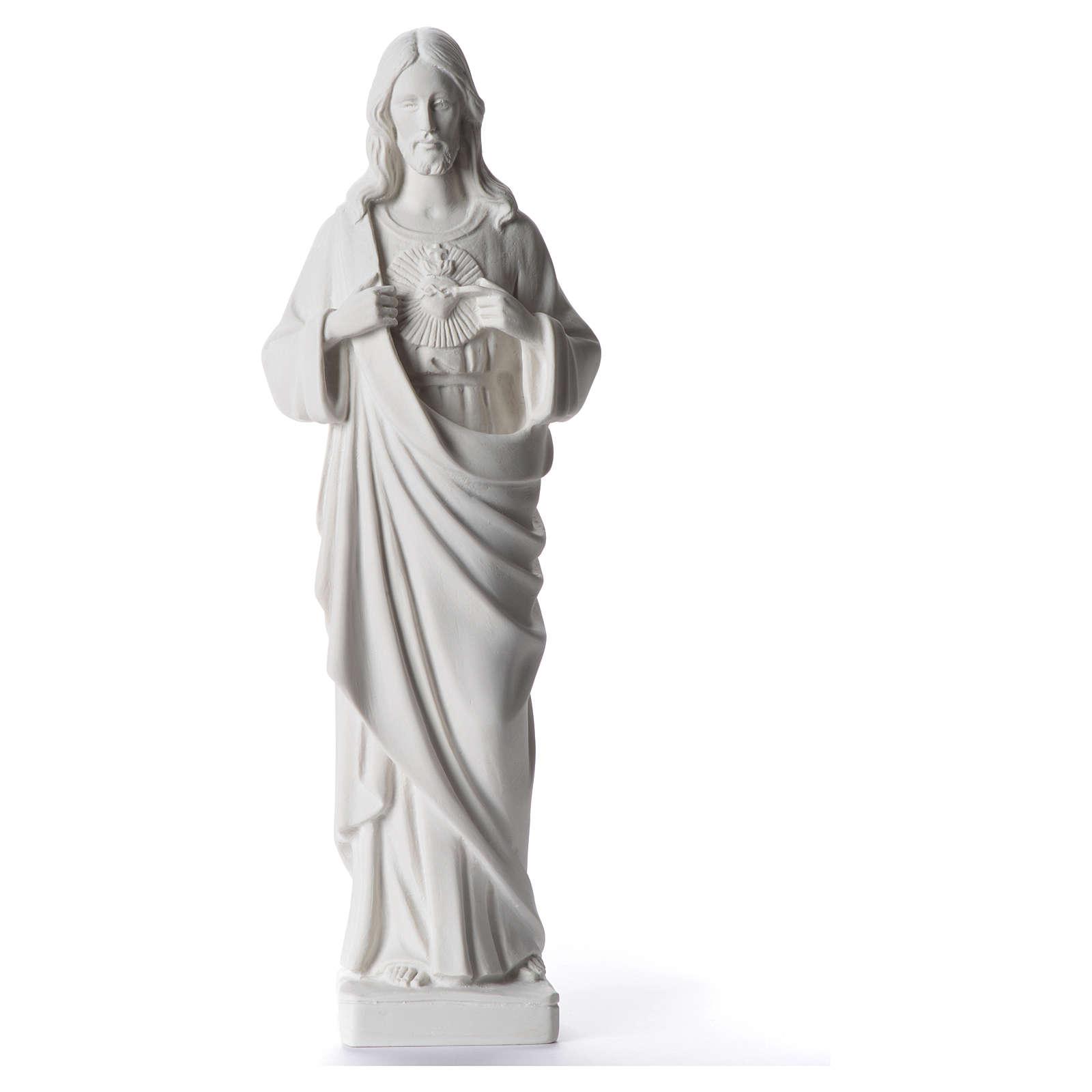 Sacred Heart of Jesus statue, 38-53 cm in white marble dust 38 cm 4